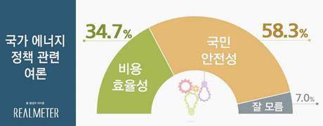 에너지정책 '국민 안전성' 58.3% '비용 효율성' 34.7%
